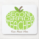 Segundo profesor Mousepad - Apple verde del grado Alfombrillas De Ratón