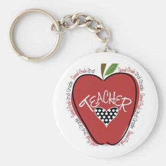 Segundo rojo Apple del profesor del grado Llavero Redondo Tipo Pin