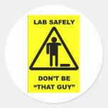 Seguridad 1 del laboratorio etiquetas redondas