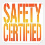 Seguridad certificada calcomanías cuadradases