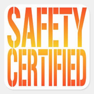 Seguridad certificada calcomanías cuadradas
