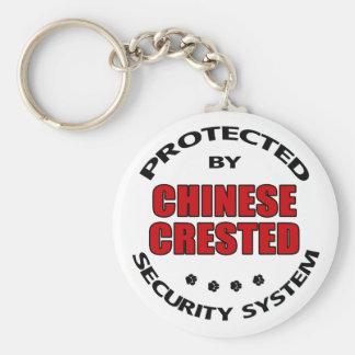 Seguridad con cresta china del perro llavero redondo tipo pin