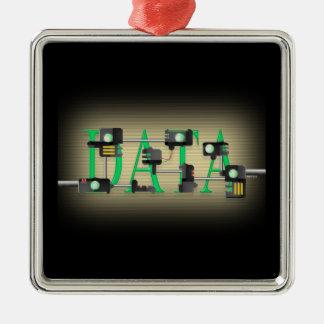 Seguridad de datos adorno navideño cuadrado de metal