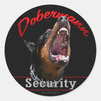 Seguridad de Dobermann Pegatina Redonda