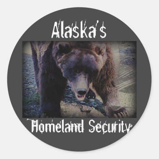 Seguridad de la patria de Alaska Pegatina Redonda