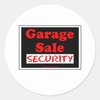 Seguridad de la venta de garaje pegatina redonda