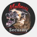Seguridad de Malinois Pegatina Redonda