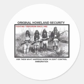 Seguridad de patria 1492 pegatina redonda