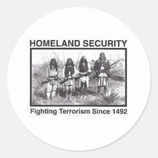 Seguridad de patria india de la foto blanca pegatinas redondas