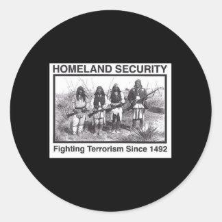 Seguridad de patria india de la foto negra etiqueta redonda