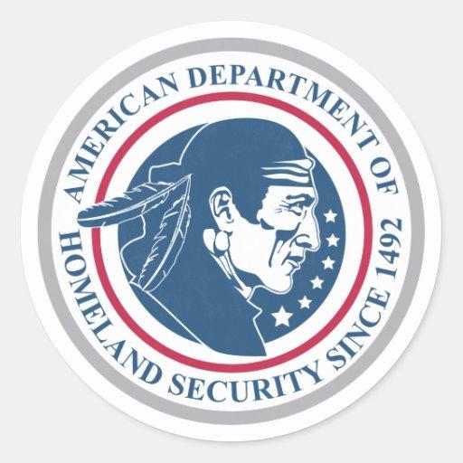Seguridad de patria, nativo americano etiquetas redondas