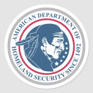 Seguridad de patria, nativo americano pegatina redonda