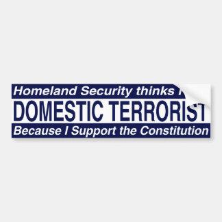 Seguridad de patria - terrorista nacional pegatina para auto