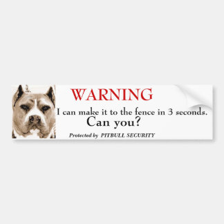 Seguridad de Pitbull Pegatina De Parachoque
