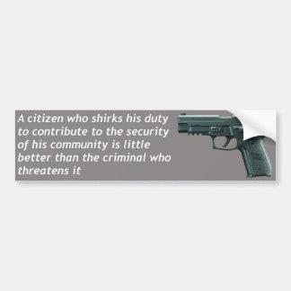 Seguridad del ciudadano pegatina para auto