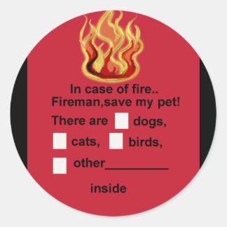 seguridad del mascota pegatina redonda