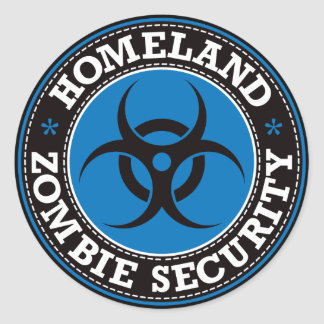Seguridad del zombi de la patria - B azul Pegatina Redonda