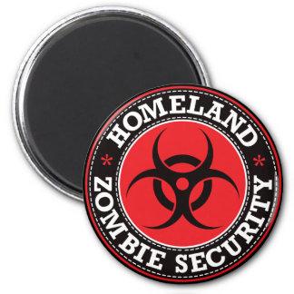 Seguridad del zombi de la patria - B rojo Imán De Nevera