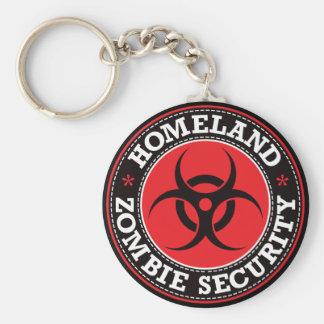 Seguridad del zombi de la patria - B rojo Llavero Redondo Tipo Pin