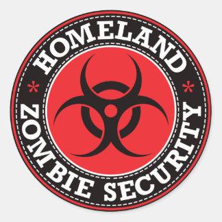 Seguridad del zombi de la patria - B rojo Pegatina Redonda