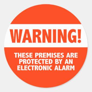 Seguridad electrónica de la alarma antirrobos etiqueta redonda