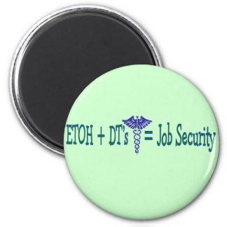 Seguridad en el empleo de ETOH--Regalos divertidos Imán Redondo 5 Cm