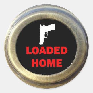 Seguridad en el hogar del transporte del arma pegatina redonda