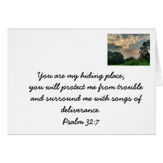 Seguridad en los brazos de dios. Tarjeta cristiana