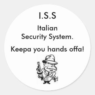 Seguridad italiana pegatina redonda