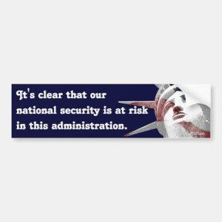 Seguridad nacional a riesgo (Bolton) Etiqueta De Parachoque