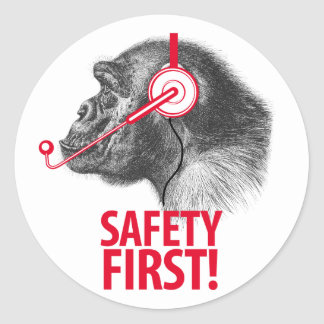 ¡Seguridad primero! Pegatinas Redondas