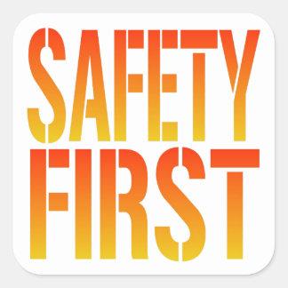 Seguridad primero calcomanías cuadradas
