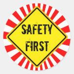seguridad primero pegatinas redondas
