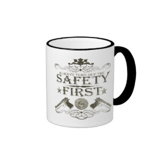 Seguridad primero taza de dos colores