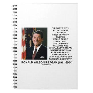 Seguridad Reagan del último recurso de la fuerza Libretas Espirales