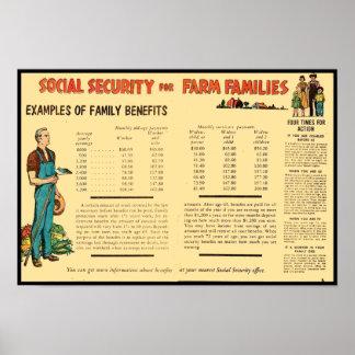 Seguridad Social para las familias de la granja Póster