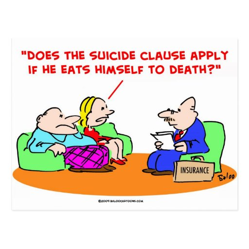 seguro de la cláusula del suicidio tarjeta postal