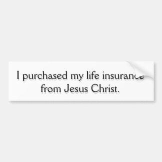 Seguro de vida del Jesucristo Pegatina Para Auto