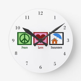 Seguro del amor de la paz reloj redondo mediano