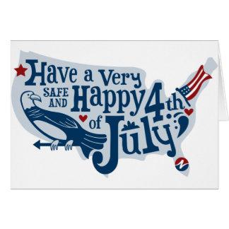 Seguro y feliz el 4 de julio tarjeta de felicitación