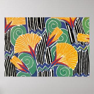 Seguy's Art Deco Golden Flowers - Print
