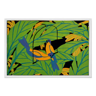 Seguy's Art Deco Tropical Birds Poster