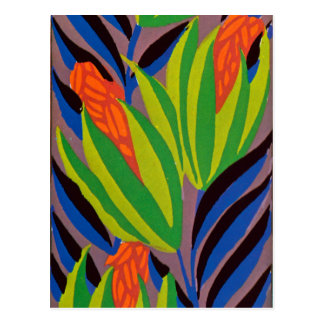 Seguy's Art Deco Tropical Flowers Postcard