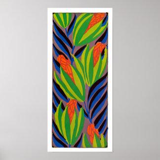 Seguy's Art Deco Tropical Flowers Poster