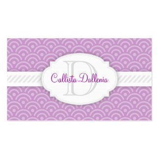 Seigaiha (Lilac) Custom Monogram Business Card