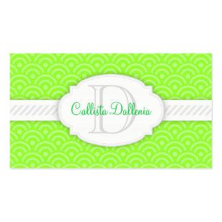 Seigaiha (Lime Green) Custom Monogram Business Card Templates