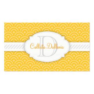 Seigaiha (Marigold) Custom Monogram Business Cards