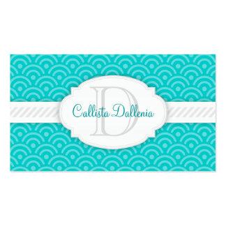Seigaiha (Teal Blue) Custom Monogram Business Card Template