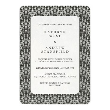 Beach Themed Seigaiha Waves Black   White Patterned Wedding Card