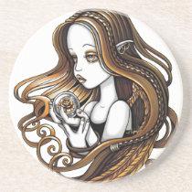 seika, amber, angel, rose, crystal, ball, fantasy, art, fairy, faery, faerie, fae, myka, jelina, angels, Descanso para copos com design gráfico personalizado